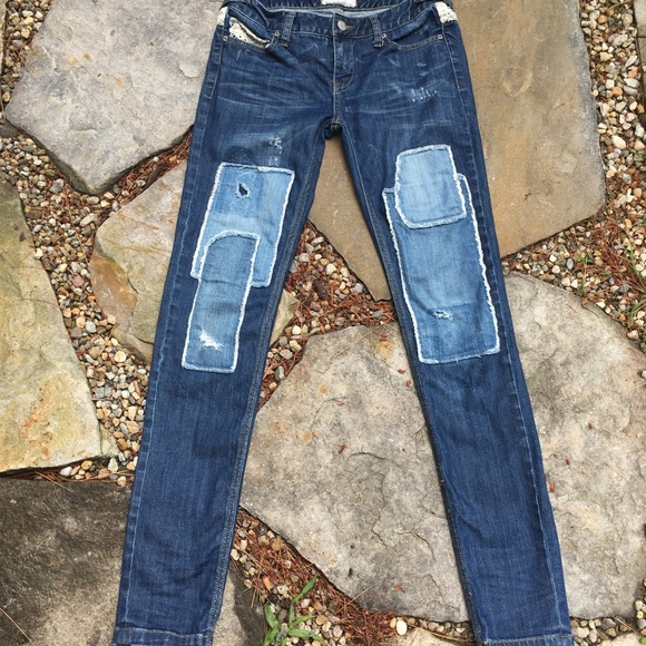 Free People Denim - FREE PEOPLE Haynes Patchwork Skinny Jeans